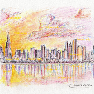 Chicago skyline watercolor of downtown in the Loop at sunset.