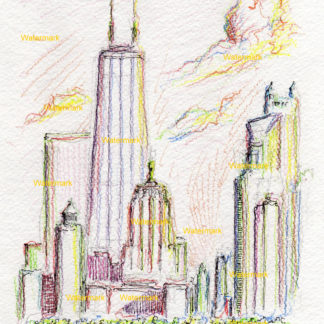 Chicago skyline #2458A pen & ink, color pencil, cityscape drawing at sunset with clouds.