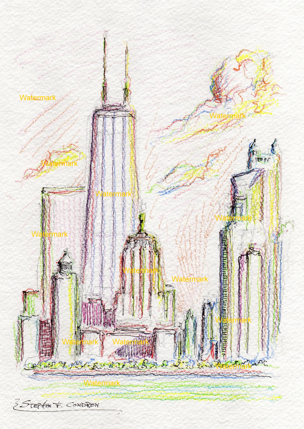 Chicago skyline color pencil drawing with John Hancock Center.