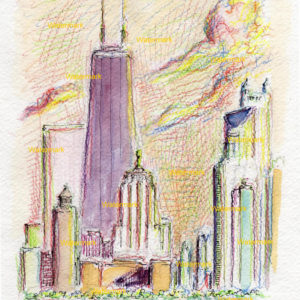 Watercolor paintings and prints of John Hancock Center in Chicago
