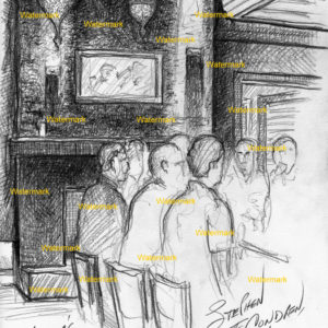 Drawing of men sitting under chandeliers in a bar.