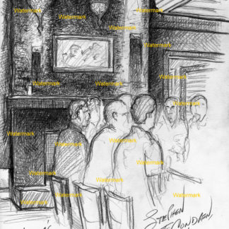 Bar scene #516A pencil tavern drawing with view of the chandeliers.