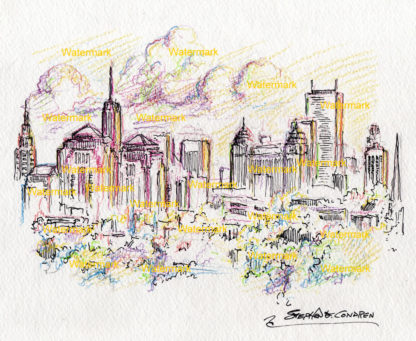 Buffalo skyline color pencil line drawing at sunset on Lake Erie.