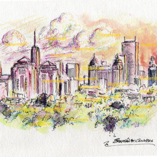 Buffalo skyline watercolor painting of downtown at sunset.