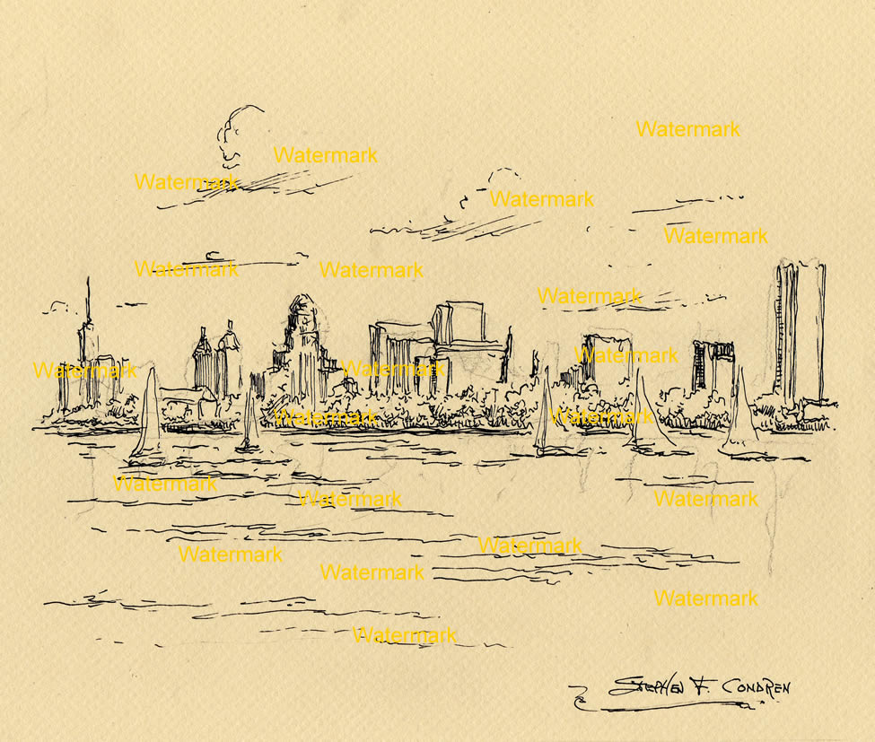 Buffalo skyline pen & ink line drawing of downtown from Lake Erie.