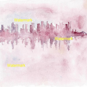 Impressionistic watercolors an prints of the Manhattan skyline at sunset.