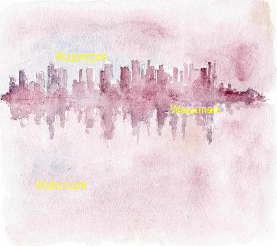 Manhattan Skyline Watercolors