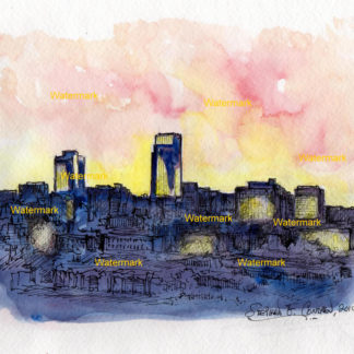 Omaha skyline watercolor painting of downtown at sunset.