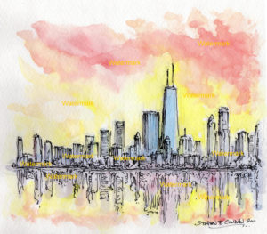 Chicago skyline watercolor painting of near north side at sunset.