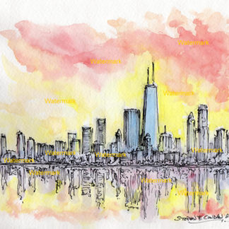 Chicago skyline sunset watercolor
