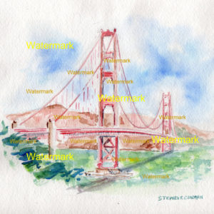 Watercolor of the Golden Gate Bridge