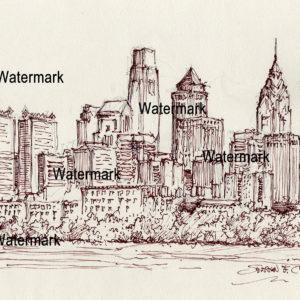 Philadelphia Skyline Pen & Ink Drawing on the Schuylkill River.