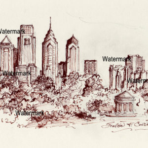 Philadelphia Skyline Pen & Ink Drawing From FDR Park with gazebo.