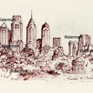 Philadelphia Skyline Pen & Ink Drawing From FDR Park with gazebo.