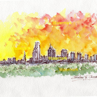 Philadelphia skyline watercolor painting of skyscrapers at sunset.