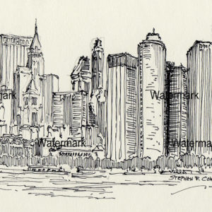 Pen & ink drawings and prints of downtown Manhattan Island skyline.