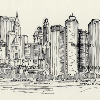 Manhattan Skyline Pen & inks