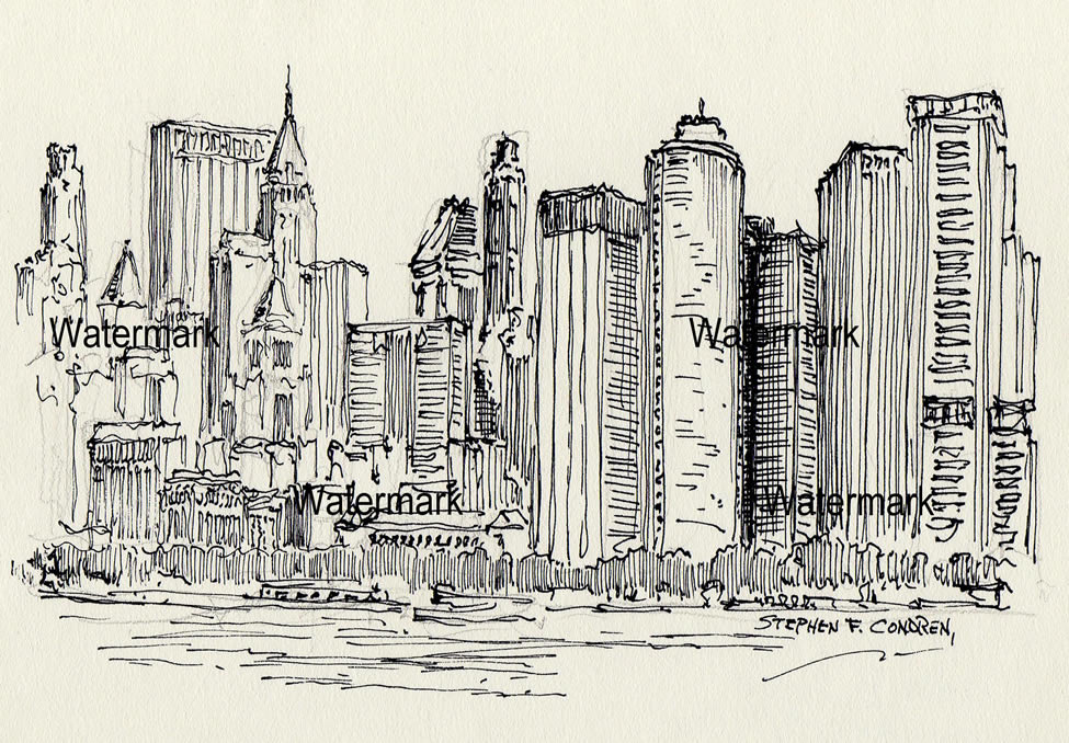 Manhattan skyline pen & ink drawing of lower Manhattan skyscrapers.
