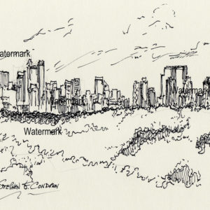 Pen & ink drawings and prints of Midtown Manhattan Island from Central Park.