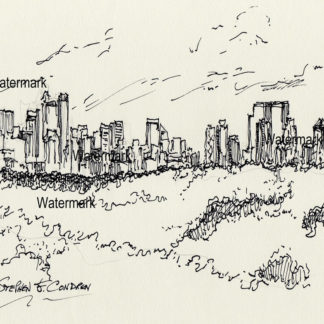 Manhattan skyline #830A pen & ink cityscape drawing with a view of Central Park.