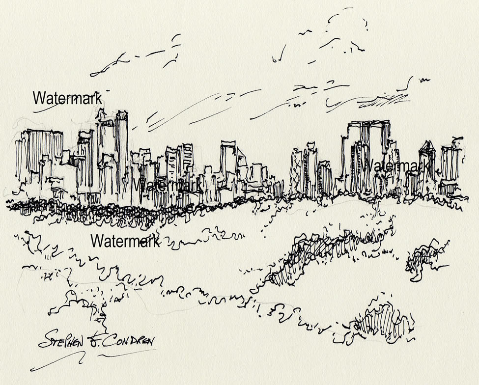 Manhattan skyline pen & ink drawing of midtown from Central Park.