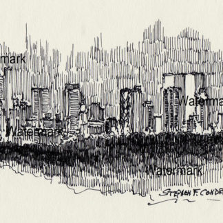 Manhattan skyline #831A pen & ink cityscape drawing of Central Park at nighttime.