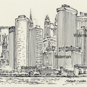 Pen & ink drawing of Downtown Manhattan Island.