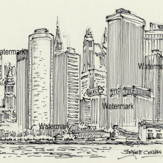 Lower Manhattan skyline #832A pen & ink cityscape drawing with fine details on the skyscrapers.