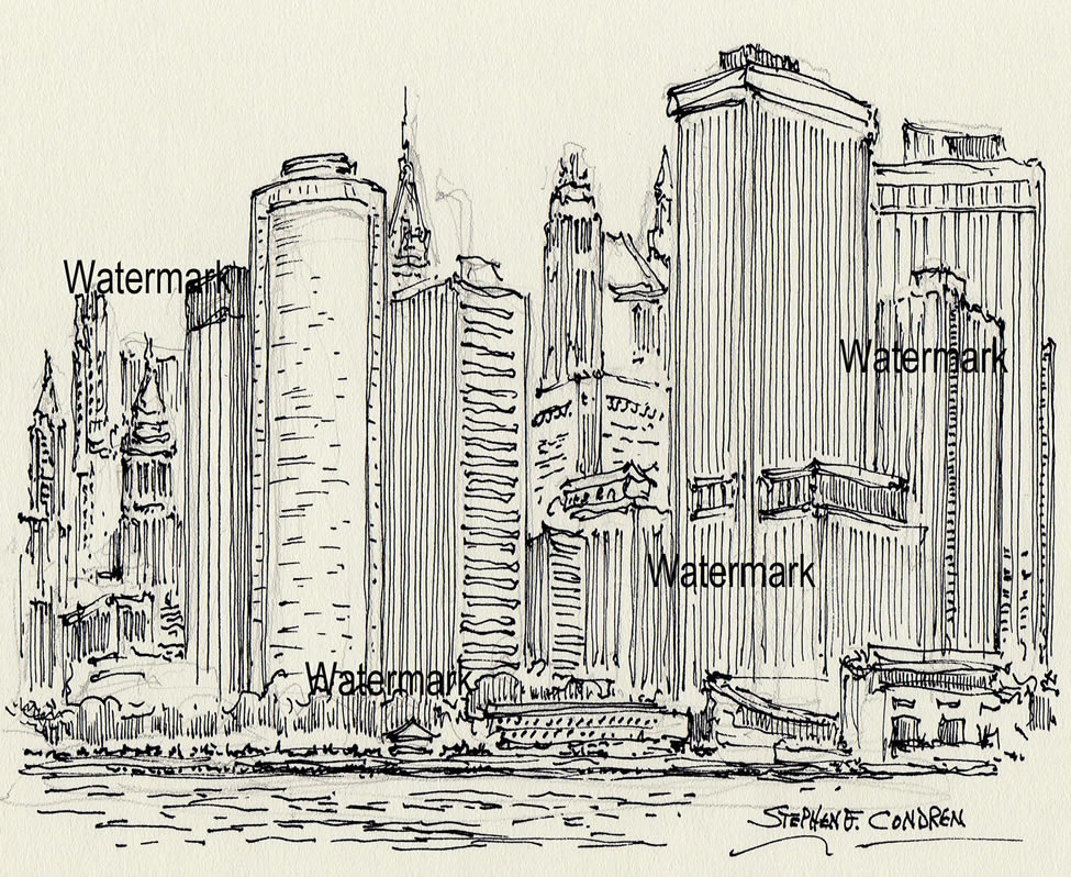 New York City skyline pen & ink drawing of towering skyscrapers in lower Manhattan.