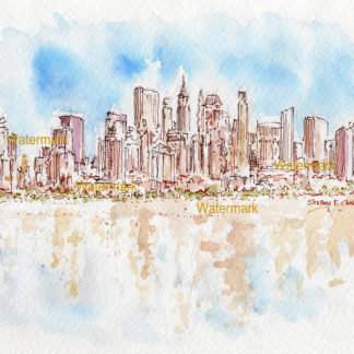 Lower Manhattan skyline watercolor reflecting in Upper Bay.