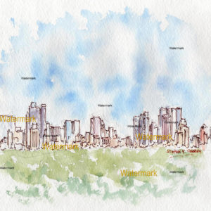 Watercolors and prints of Manhattan skyline as seen from Central Park.