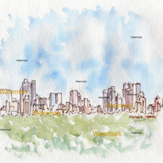 Manhattan skyline watercolor painting of midtown from Central Park.