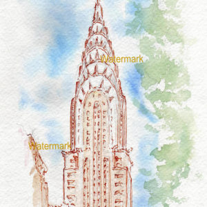 Watercolor of the Chrysler Building in Manhattan.
