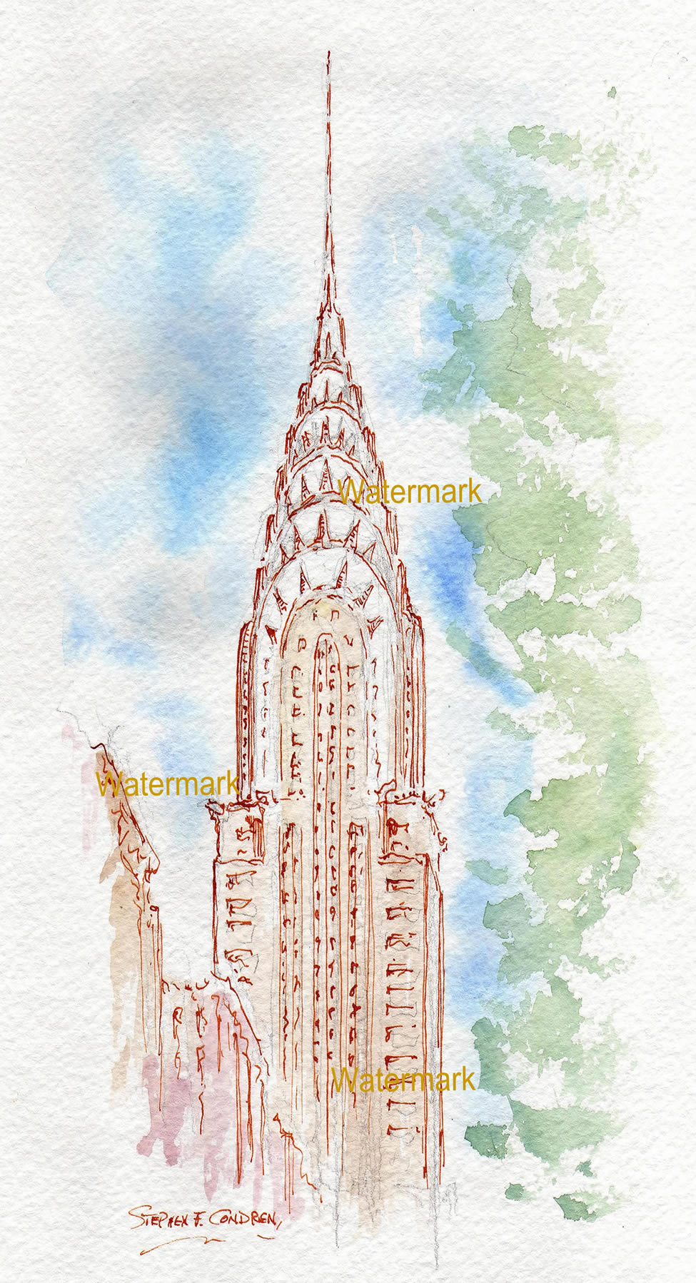 Chrysler Building watercolor painting with pen & ink line drawing.