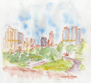 Manhattan skyline watercolor painting viewed from Central Park.