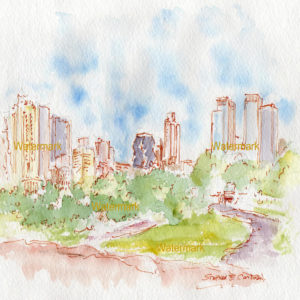 Watercolors and prints of Manhattan skyline from Central Park.