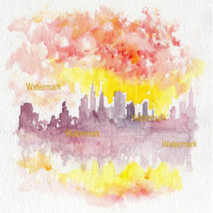 Watercolors and prints of Manhattan impressionist skylines from Central Park at sunset.