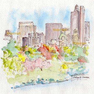 Manhattan skyline watercolor seen from Jacqueline Kenney Reservoir.