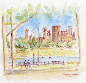 Manhattan Central Park skyline watercolor of Jacqueline Kennedy Reservoir.