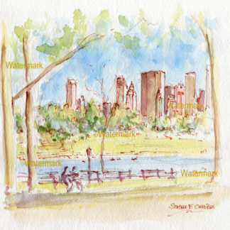 Manhattan Central Park skyline watercolor of Jacqueline Kennedy Reservoir.