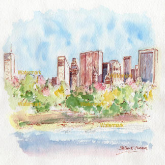 Central Park skyline watercolor viewed from Jacqueline Kennedy Reservoir.