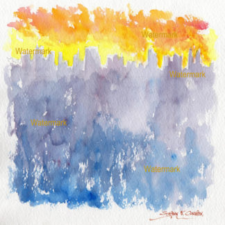 Impressionist watercolor skyline painting of lower Manhattan at sunset.