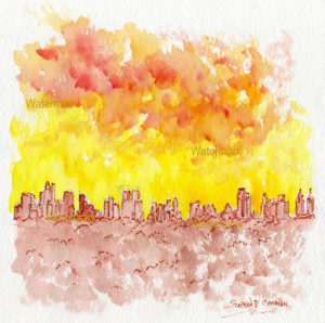 Impressionist watercolor skyline painting of Manhattan Island at sunset.