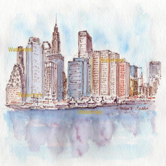 ower Manhattan skyline watercolor of skyscrapers reflecting in the bay.