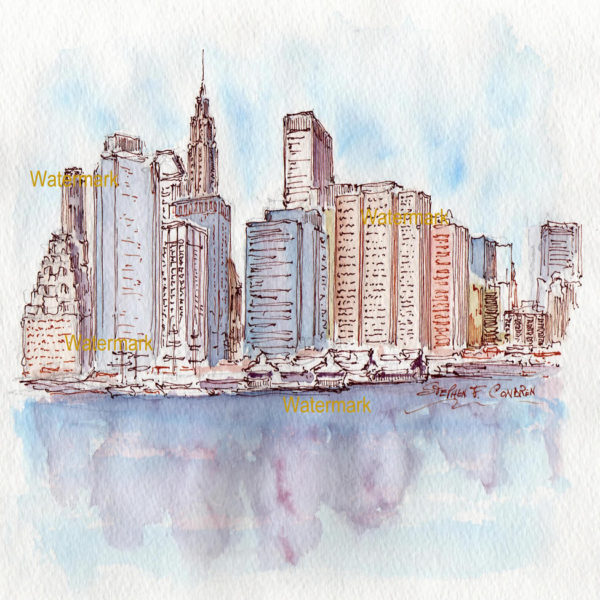 Watercolors and prints of Manhattan skyline downtown.