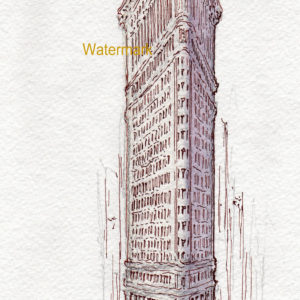 Flatiron Building watercolor painting with pen & ink line drawing.