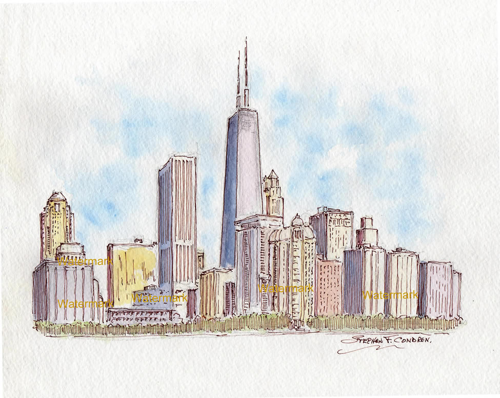Chicago skyline watercolor with pen & ink of near north side.