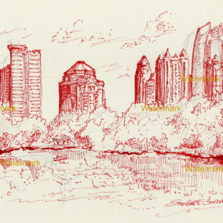 Atlanta skyline #857A red pen & ink cityscape drawing is popular because of it's view Piedmont Park.