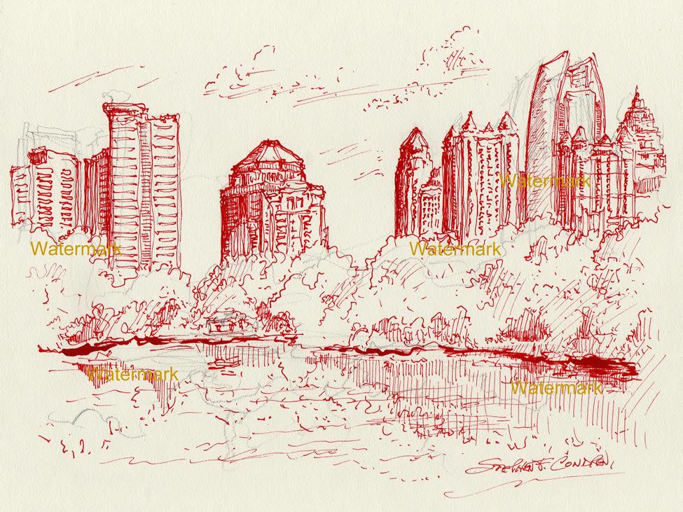 Atlanta red skyline pen & ink of midtown