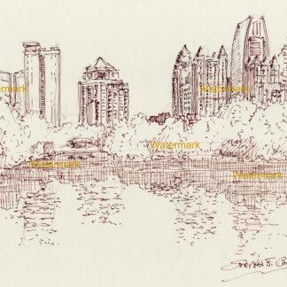 Atlanta skyline brown pen & ink drawing